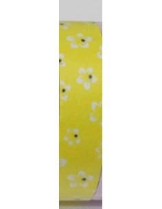 Fabric tape amarillo con flores blancas
