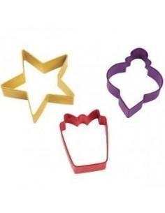 Set 3 cortadores regalo, estrella y bola de navidad Wilton