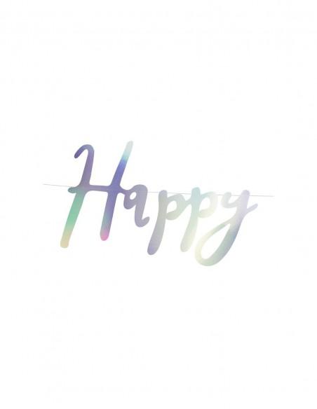 Banner Happy Birthday Iridiscente
