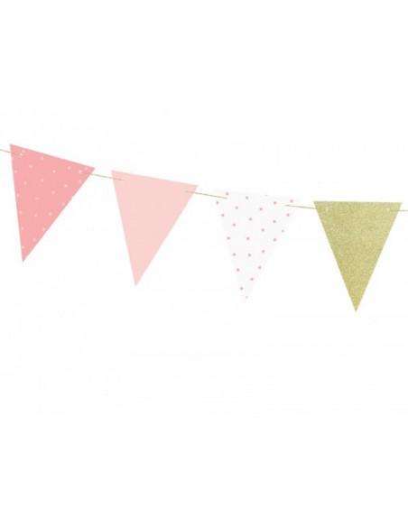 Banderines rosas y dorasos de papel