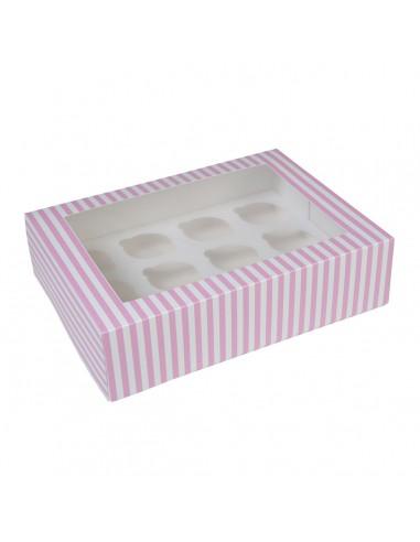 Caja 12 cupcakes blanca rayas rosas