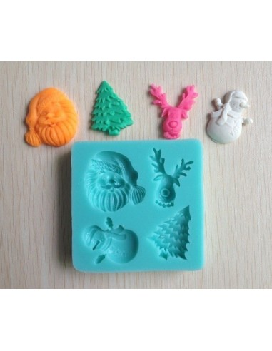Molde de silicona navideño, papa noel, reno, muñeco nieve y abeto