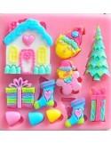 Molde silicona variado navideño casita