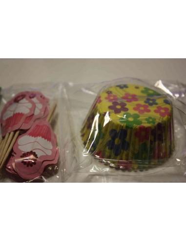 Cápsulas Flores + Toppers Cupcake