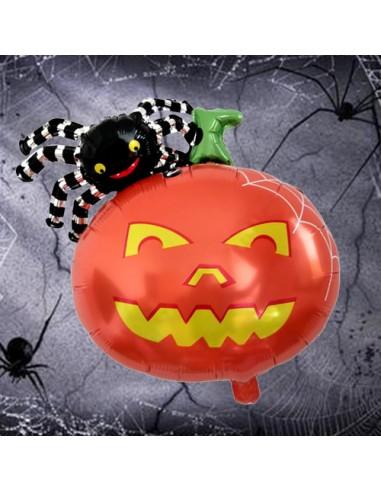 Globo calabaza foil con araña