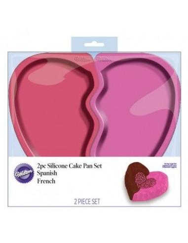 Molde Silicona Corazón dos partes Wilton
