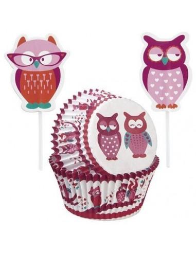 Combo para Cupcakes Buhos con toppers Wilton