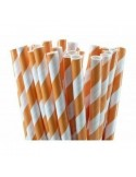 Pack 25 pajitas de papel con rayas naranjas
