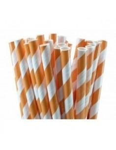 Pajitas de papel con rayas naranjas