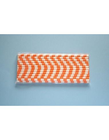 Pack 25 pajitas de papel blancas con rayas horizontales naranjas