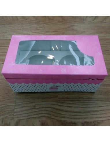 Caja para 2 Cupcakes Color Rosa