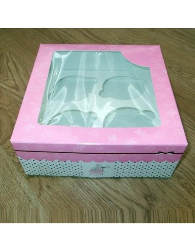 Caja para 4 Cupcakes Color Rosa