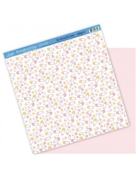 Hoja papel scrapbooking doble cara imperdibles