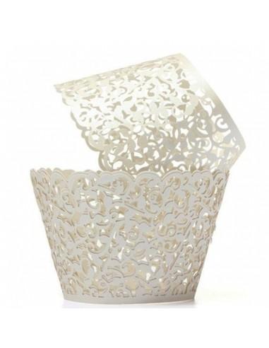 Pack 12 wrappers elegantes blanco perlado