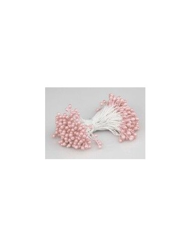 Estambres para flores perlados rosa claro