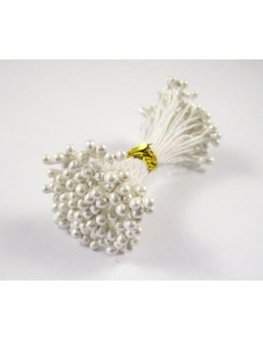 Estambres para flores perlado blanco