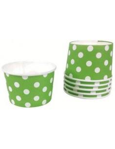 Tarrinas helado verde con lunares