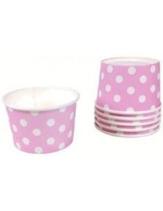 Tarrinas helado rosas con lunares