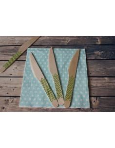 Cuchillos madera chevron verde