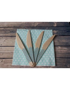 Cuchillos madera chevron azul