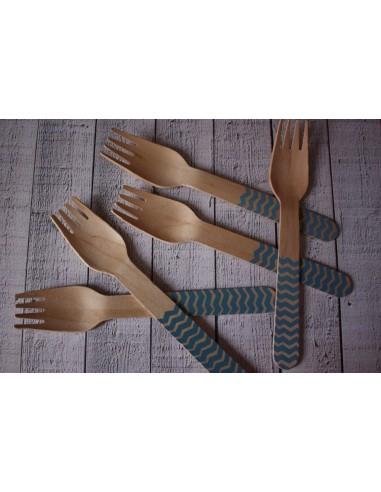 Tenedores madera chevron azul