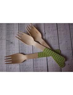 Tenedores madera chevron verde