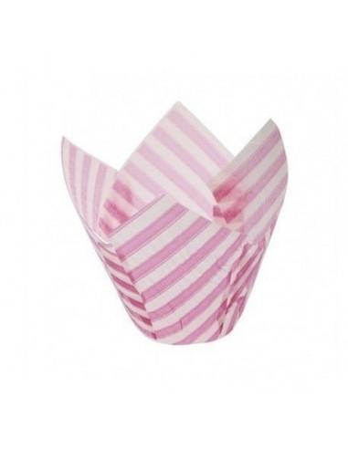 Cápsulas muffins rayas rosas