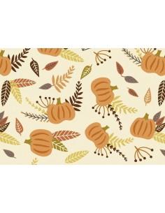Papel de azúcar hojas de otoño y calabazas