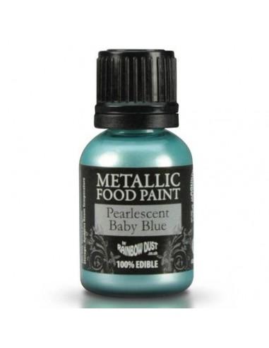 Pintura comestible metalizada azul bebe perlado