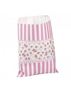 Pack de 10 bolsas de papel con rayas y flores en tono rosa