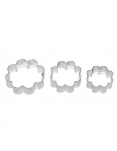 Set 3 cortadores metálicos mini con forma de flor