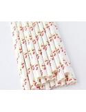 Pack de 25 pajitas de papel blanco con cerezas
