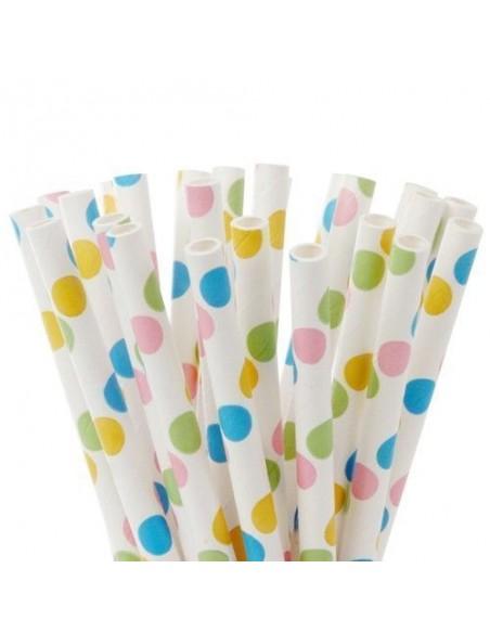 Pack 25 pajitas de papel blancas con lunares primaverales