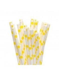 Pack 25 pajitas de papel blancas con lunares amarillo