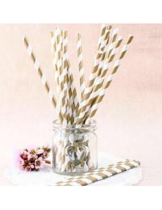 Pack 25 pajitas de papel blancas con rayas doradas