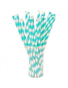 Pack 25 pajitas de papel blancas con rayas turquesas