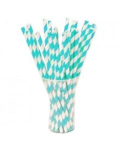 Pajitas de papel blancas con rayas turquesas