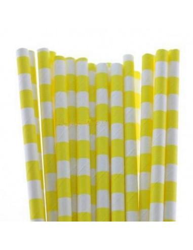 Pack 25 pajitas de papel blancas con rayas horizontales amarillas