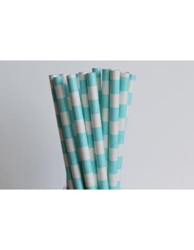 Pajitas de papel blancas con rayas horizontales azul cielo - Papel con rayas ...