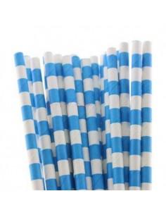 Pack 25 pajitas de papel blancas con rayas horizontales azules