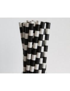 Pajitas de papel con rayas negras horizontales