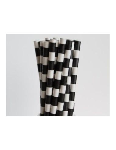 Pack 25 pajitas de papel blancas con rayas negras horizontales