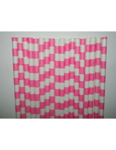 Pack 25 pajitas de papel blancas con rayas horizontales fucsia
