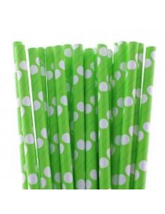 Pack 25 pajitas de papel verdes con lunares blancos