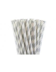 Pack 25 pajitas de papel blancas con rayas plateadas