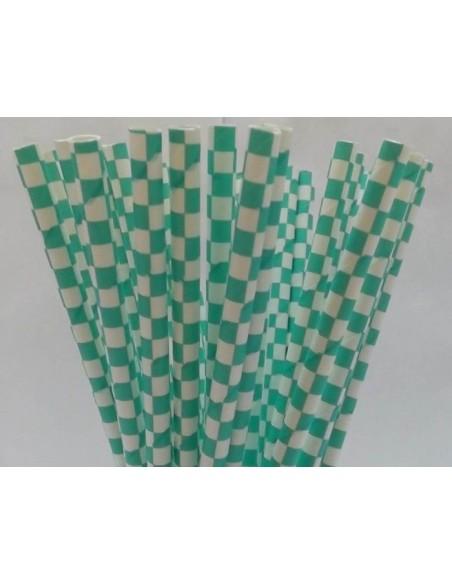 Pack 25 pajitas de papel blancas con cuadros turquesa