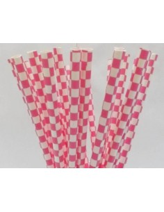 Pajitas de papel con cuadros fucsias