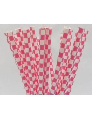Pack 25 pajitas de papel blancas con cuadros fucsias