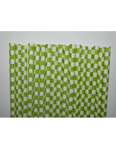 Pack 25 pajitas de papel blancas con cuadros verde lima