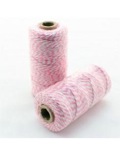Baker twine de algodón blanco y rosa